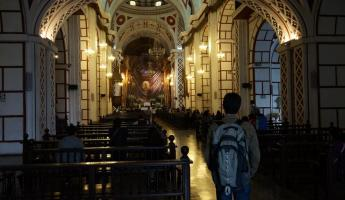 On the bus tour in Lima, we saw the catacombs in this church