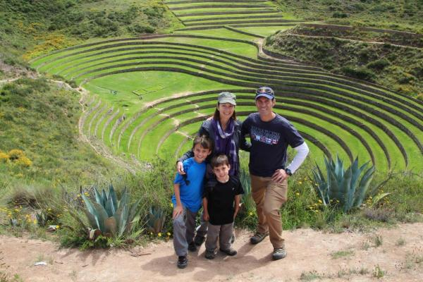 Family photo at Moray agricultural terraces