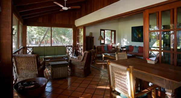 Relax in style in the common room of Embiara Lodge