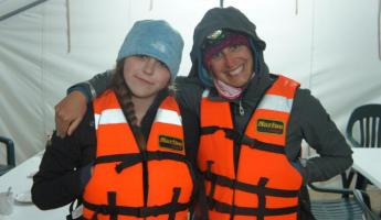 Mother and daughter ready to go whale watching in Magdalena Bay