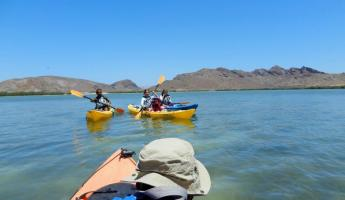 A family sea kayaking in Baja