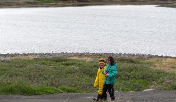 Hailey and Colin strolling in Qeqertarsuaq
