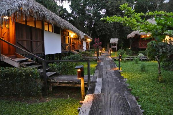 Take an evening stroll around the bungalows at Sacha Lodge