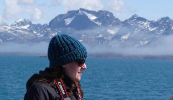 Pam admiring view from Sea Adventurer