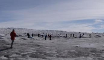 Walking on Greenland ice cap