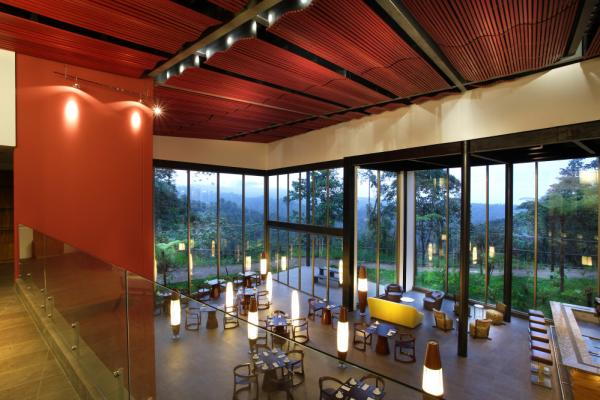The luxurious and elegant dining room at Mashpi Lodge