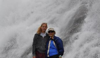 By the waterfall at Mendenhall Glacier