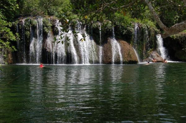 Cool off under the falls in Bonito