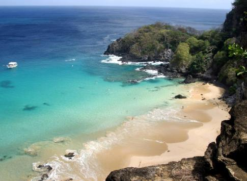 View of Brazil's iconic white sand beaches