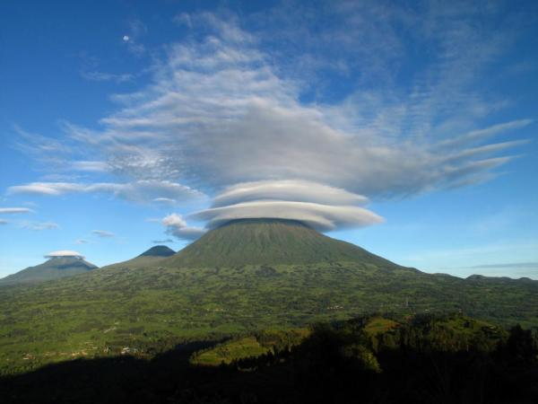 A cloud smothers Virunga Volcanoes