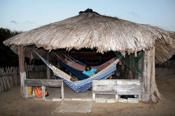 Hammocks in a small fishing village bordering Lencois Maranhenses National Park
