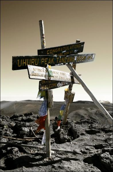 Marker at the top of Mount Kilimanjaro