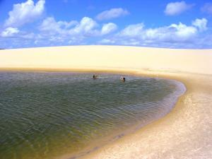 Swimming in the clear lagoons of Mencois Maranhenses