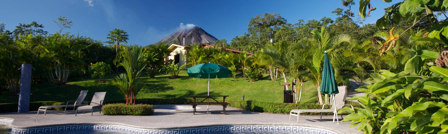 Swim with full views of Arenal Volcano at Arenal Volcano Inn