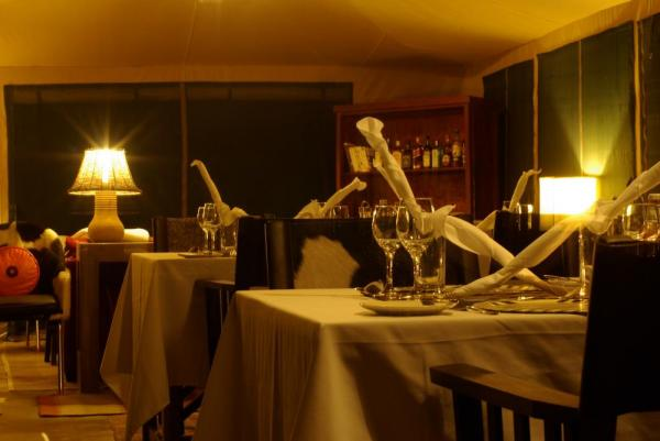 Lemala Elewanja Camp's dining room at night