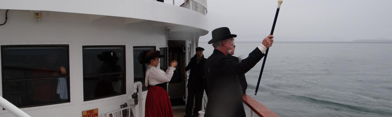 Gold rush characters wave to neighboring cruisers