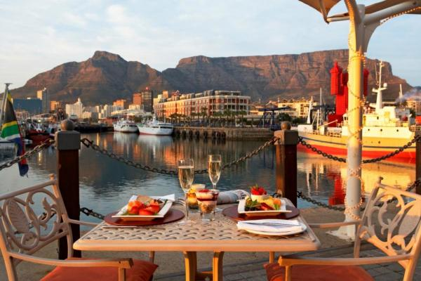 Dine on the patio by the water at the V&A Hotel