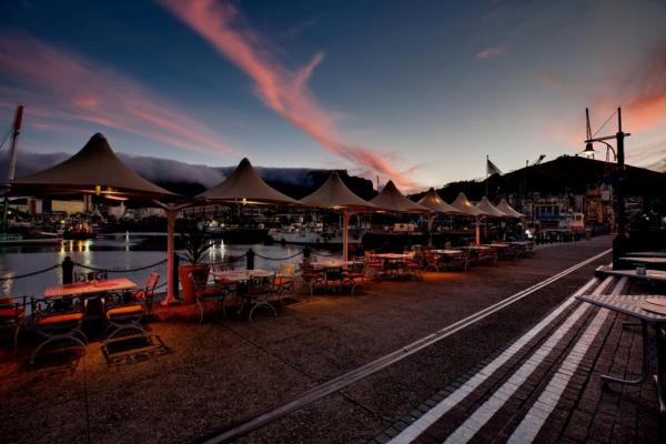 Enjoy the sunset while dining outdoors at the OYO Restaurant