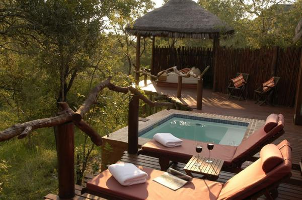 Simbambili Lodge's luxurious jacuzzi in this treetop room.