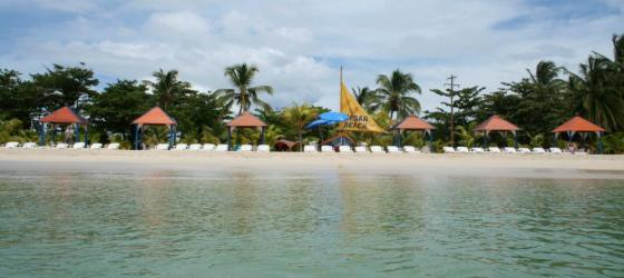 The beach at Arenas Beach Hotel, Corn Islands;