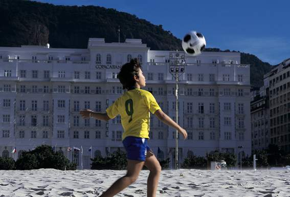 The Copacabana Palace sits on the beach