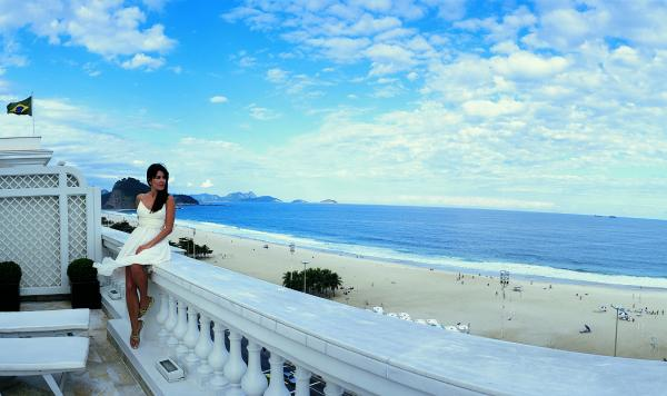 Enjoy the beach from your private deck at the Copacabana Palace