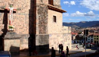 View of the Catholic influence in the ancient Inca city of Cusco