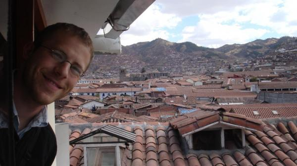 Aaron from top floor of our Cusco hotel