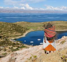 Local woman at Lake Titicaca