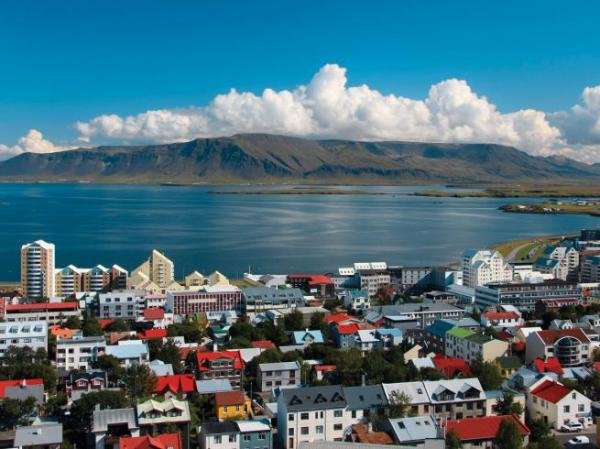 The capital city of Reykjavik, Iceland
