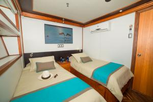 Lower deck cabin with twin bed arrangement