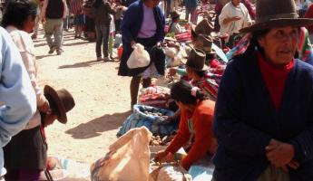 Visiting the local Chinchero market in Peru.  A busy and beautiful place.