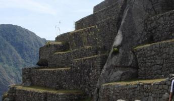 A steep stairway at Machu Picchu