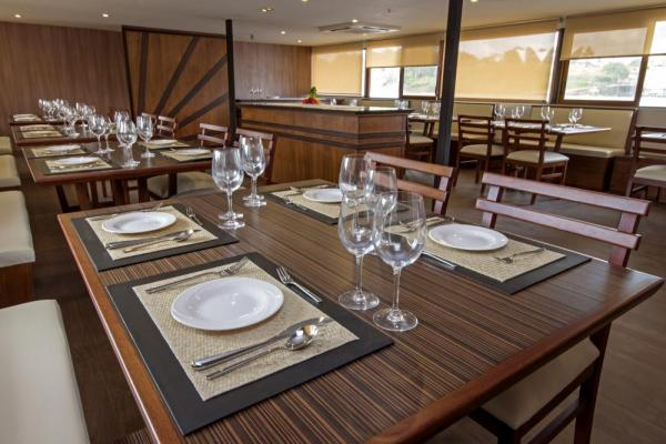 Enjoy fine dining aboard the M/V Anakonda