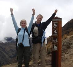 Aaron and Beth at Dead Womans Pass on the Inca Trail