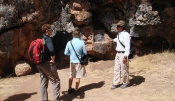 Exploring ruins near Sacsayhuaman with our guide