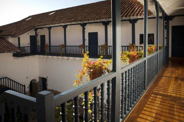 Admire the courtyard of Palacio Nazarenas from the deck