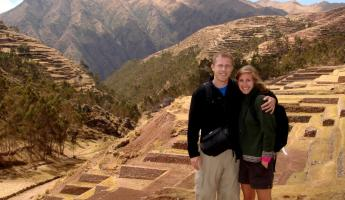 Aaron and Beth at the incredible terraced ruins near Chinchero, Peru