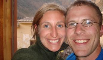Happy and hungry at our charming hotel in the Sacred Valley