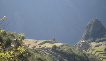 Our first glimpse of Machu Picchu - Wayna Picchu in the background