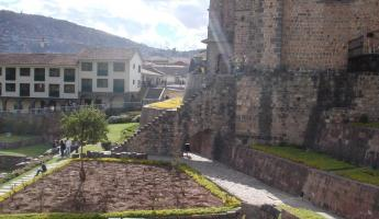 Abbey built on top of Inca ruins in Cusco, Peru