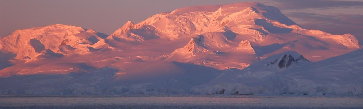 Antarctic mountains at sunset