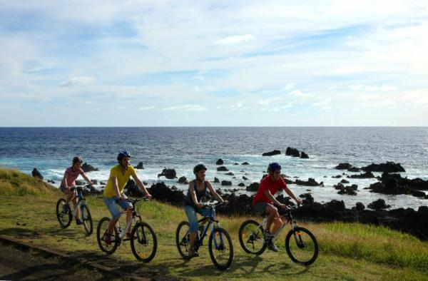 Ride your bike along the coast of Easter Island
