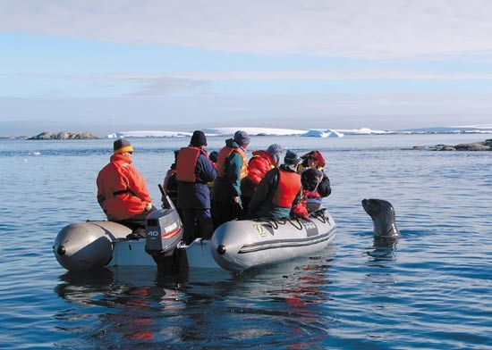 Be prepared for curious wildlife!  An inquisitive leopard seal inspects a Zodiac-load of expeditioners