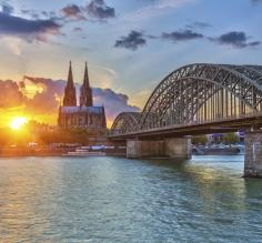 Cologne's famous cathedral at sunset from the Rhine.