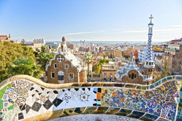 Park Guell, unique houses designed by Gaudi in Barcelona