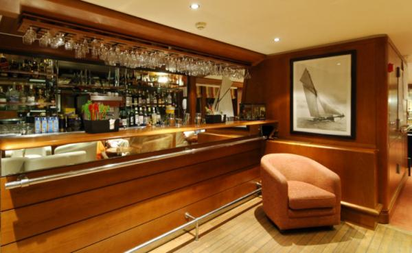 Enjoy a drink aboard the Le Ponant,