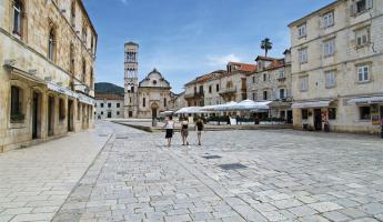 City streets of Hvar, Croatia.
