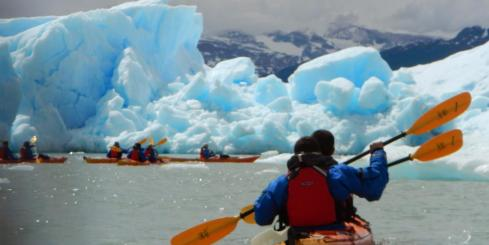 Kayak alongside icebergs while on an Argentine adventure near El Calafate