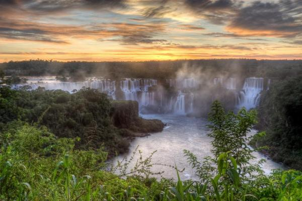 Sunset over Iguazu Falls